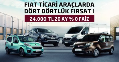 FIAT Ticari Araçlarda Dört Dörtlük Fırsat!